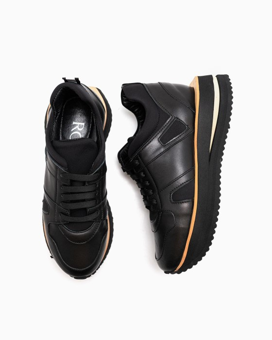 Черные кожаные кроссовки ROU с нейлоновыми вставками