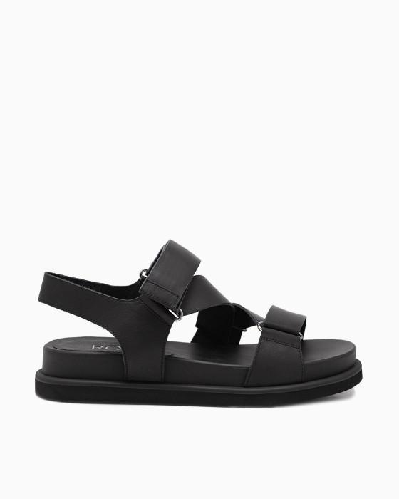 Черные сандалии ROU с застежкой на липучке