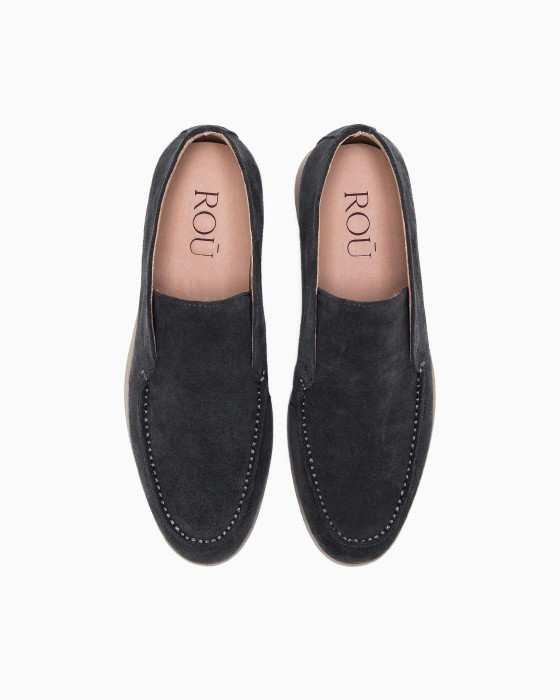 Ботинки ROU без шнурков из серой замши