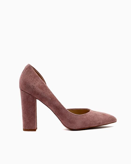 Бледно-розовые замшевые туфли ROU на устойчивом каблуке