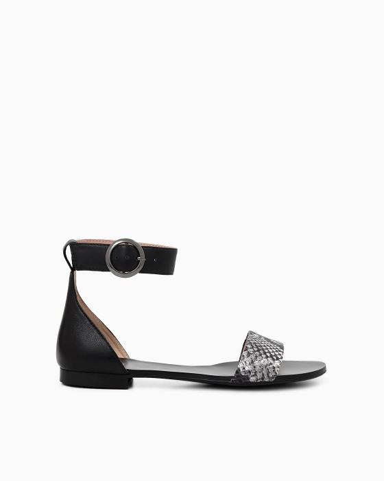 Черные сандалии ROU c питоновым декором