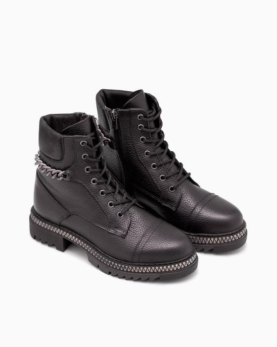 Брутальные демисезонные ботинки ROU с цепочкой