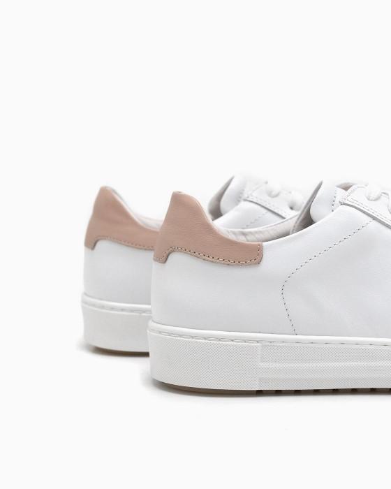 Белые кожаные кеды ROU с розовой пяткой