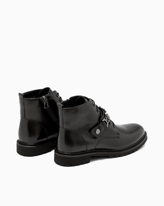 Черные ботинки ROU с декорированной пряжкой