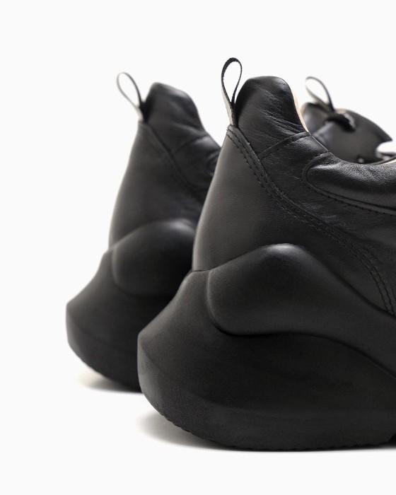 Черные кожаные кроссовки ROU на вспененной подошве
