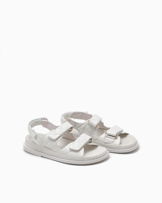 Светло-бежевые кожаные сандалии ROU со стежкой
