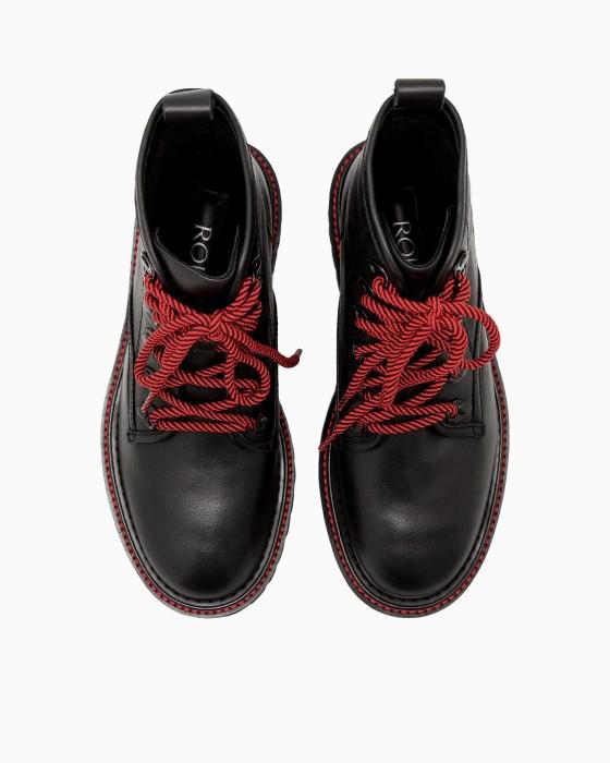 Черные ботинки ROU на EVA подошве с красным шнурком