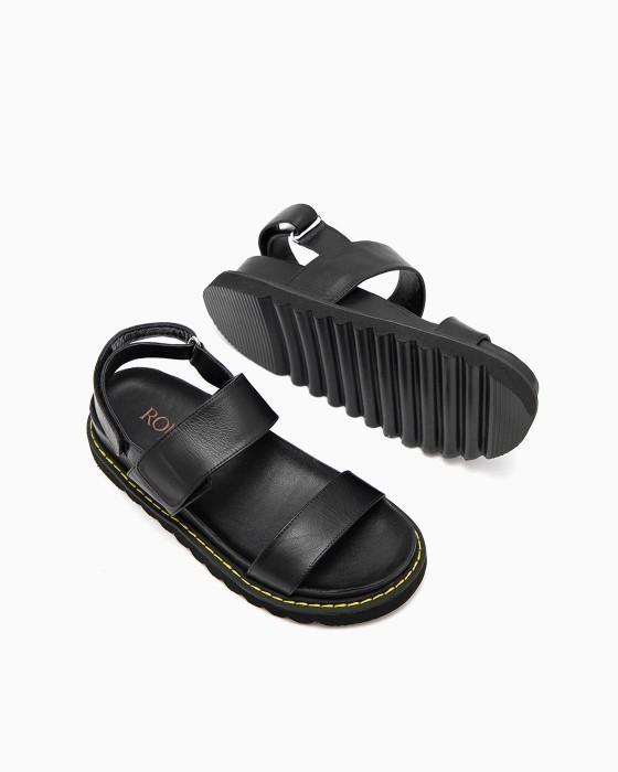 Кожаные черные сандалии ROU желтой прошивкой