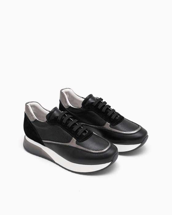 Черные  кроссовки ROU с замшевыми вставками