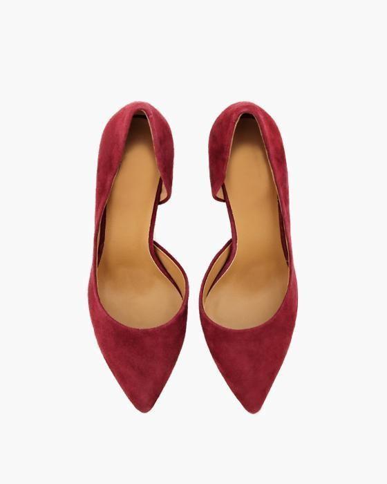 Туфли на шпильке ROU из замши винного цвета