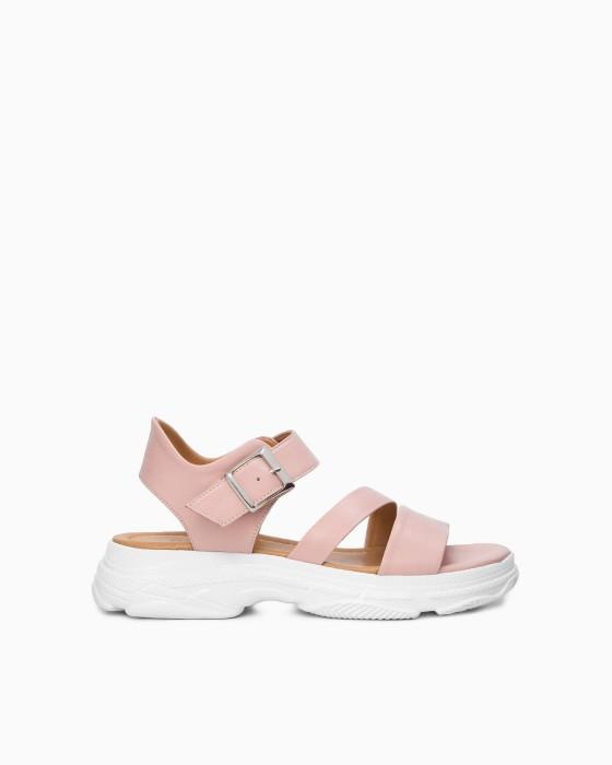 Розовые сандалии ROU на массивной подошве