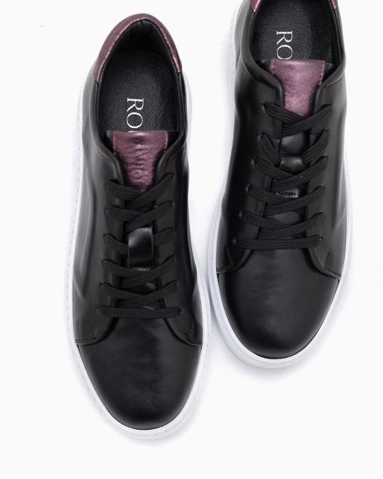 Черные кожаные кеды ROU с тиснением