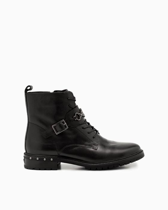 Черные ботинки ROU с пряжкой и металлическим декором