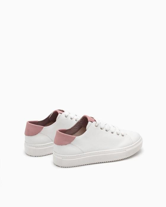 Облегченные белые кеды ROU с розовой пяткой