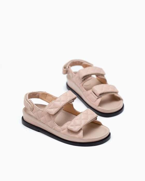 Бежевые стеганые сандалии ROU с черной подошвой