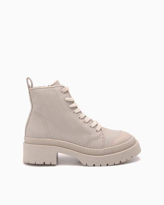 Бежевые кожаные ботинки ROU на массивной подошве