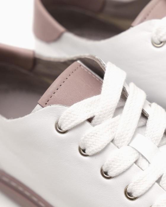 Белые кеды ROU с темно-розовой подошвой