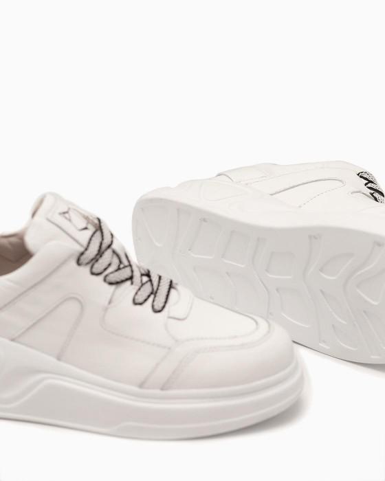Белые кожаные кеды ROU на объемной подошве