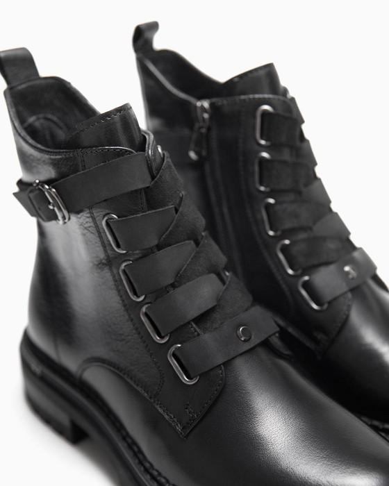 Черные ботинки ROU прошнурованные ремешком