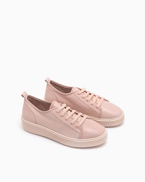 Облегченные кожаные кеды ROU розового цвета