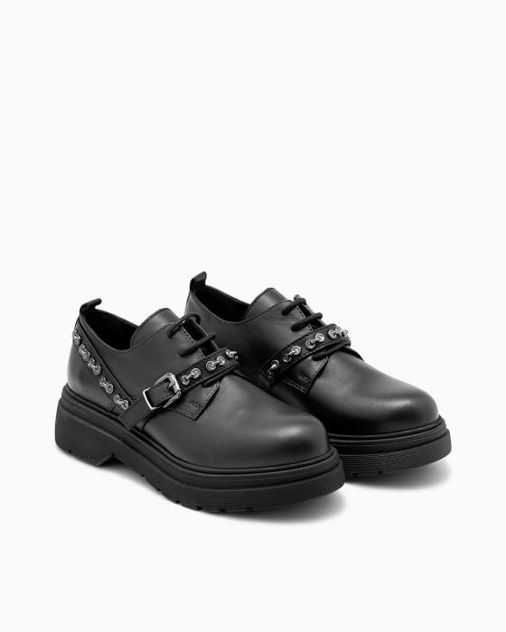 Черные кожаные туфли ROU на платформе с декором