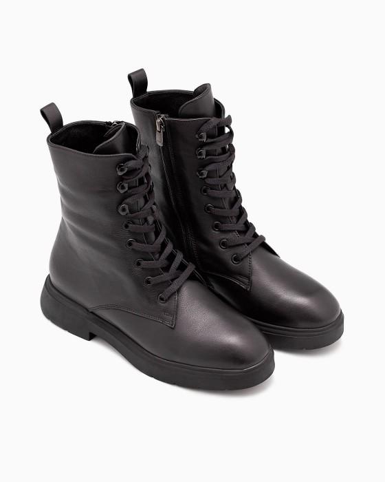 Высокие брутальные демисезонные ботинки ROU на шнуровке