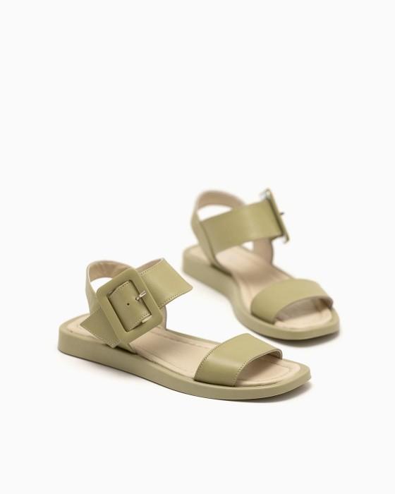 Кожаные сандалии ROU оливкового цвета