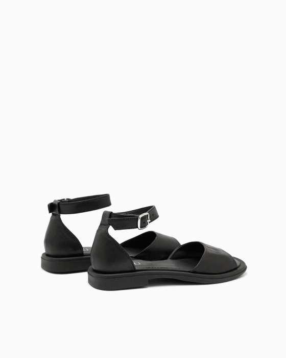 Черные кожаные сандалии ROU с закрытой пяткой