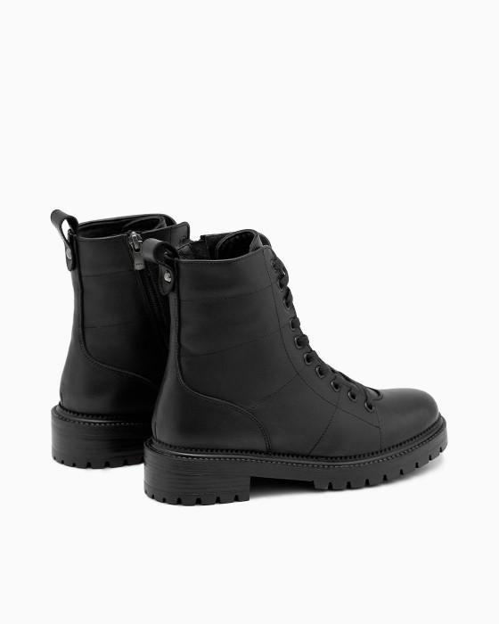 Черные демисезонные ботинки ROU cо стежками