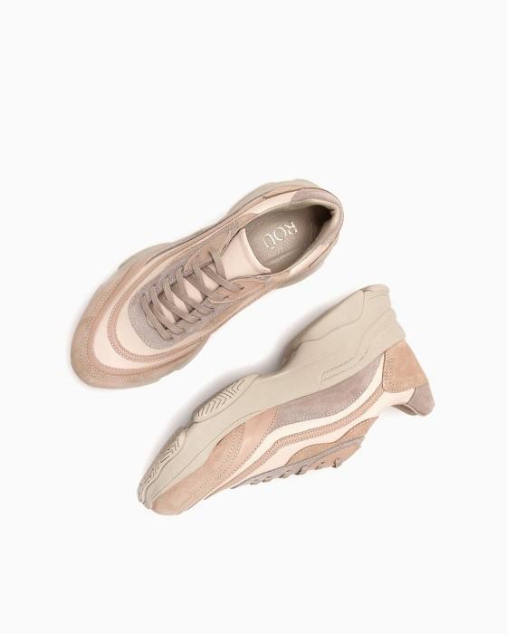 Темно-бежевые кроссовки ROU с замшевыми вставками