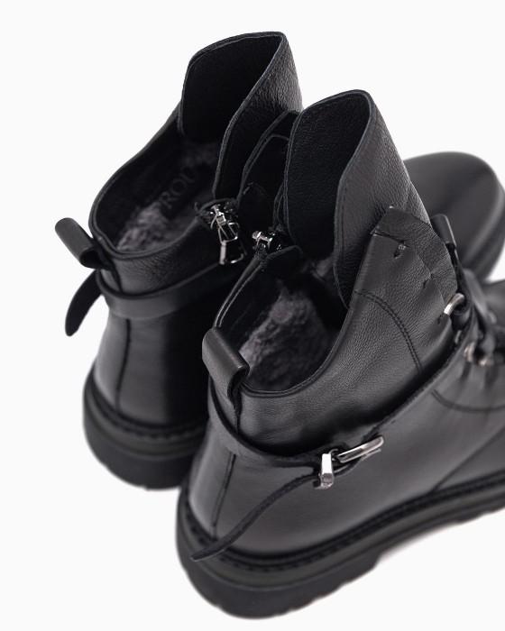 Зимние ботинки ROU с ремнями и рантом цвета хаки