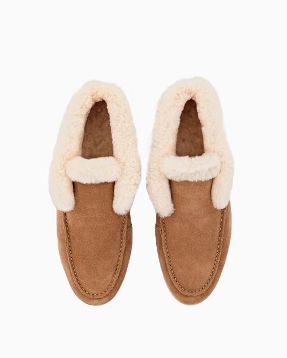 Рыжие ботинки ROU из мягкой и теплой овчины