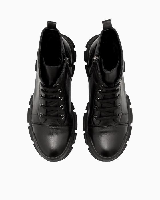 Черные кожаные ботинки ROU в спортивном стиле