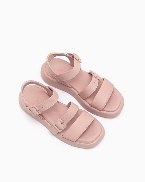 Розовые кожаные сандалии  ROU на комфортной подошве