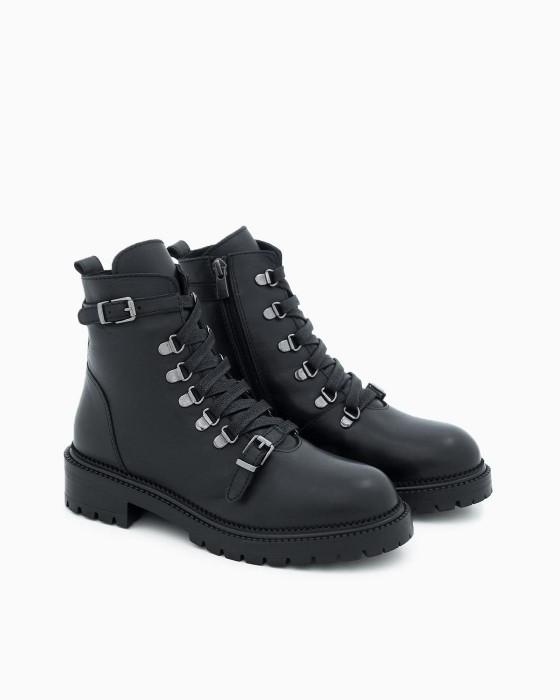Ботинки ROU c пряжками на шнуровке
