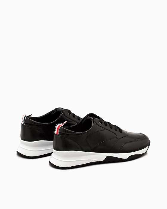 Черные кожаные кроссовки ROU с белой подошвой