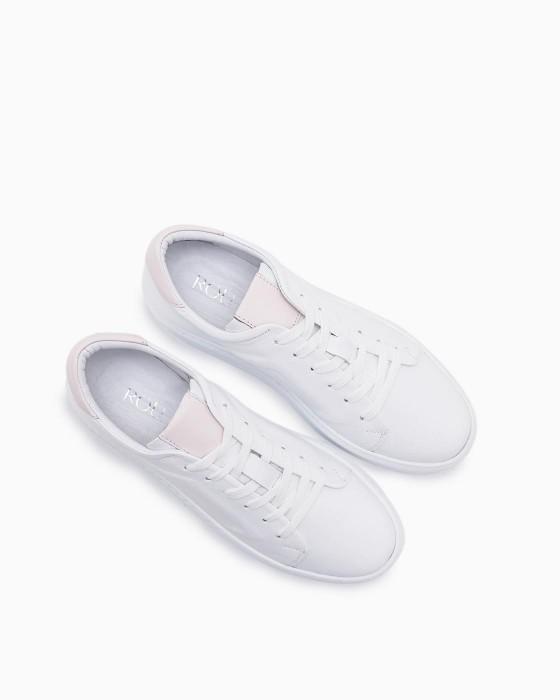 Белые кожаные кеды ROU с тиснением