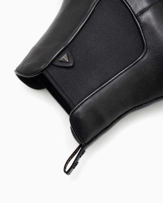 Кожаные черные челси ROU с небольшим каблучком