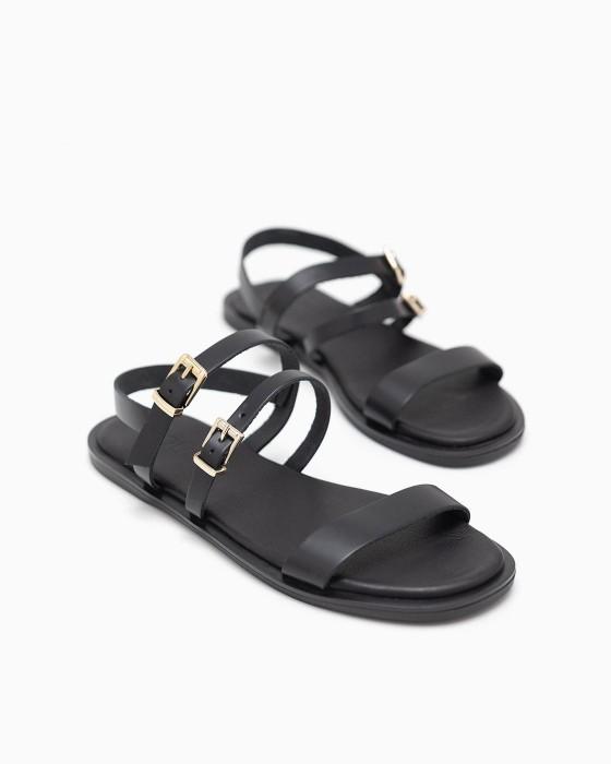 Черные кожаные сандалии ROU с тонкими ремешками