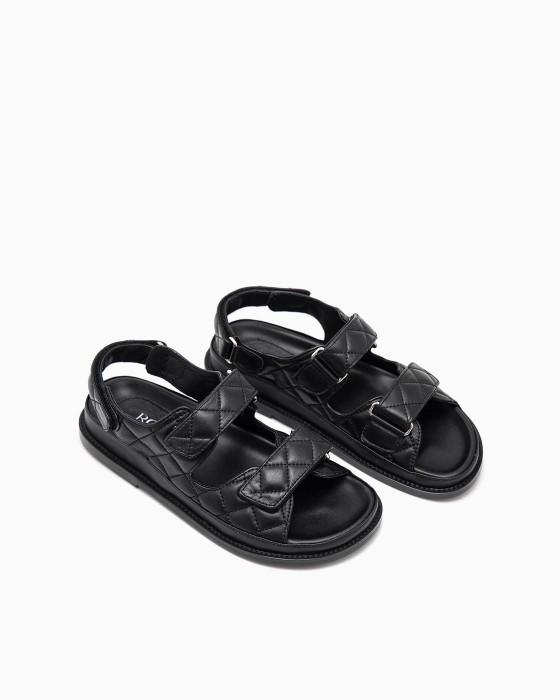 Черные стеганые сандалии ROU