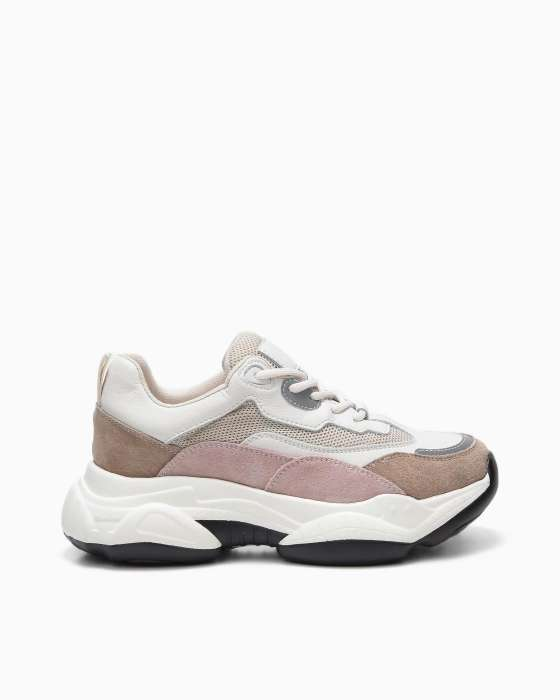 Бежевые кроссовки ROU с розовыми вставками и массивной подошвой