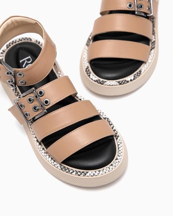 Бежевые сандалии ROU с питоновым рантом