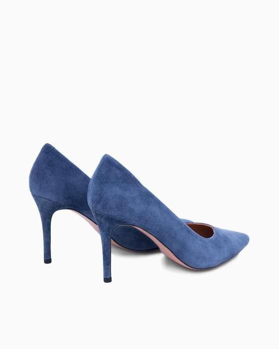 Замшевые туфли-лодочки ROU василькового цвета