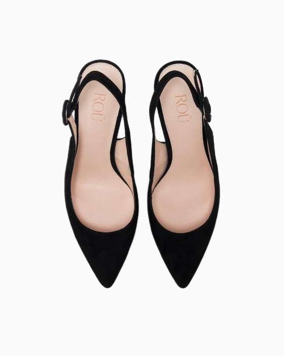 Летние туфли ROU из черной замши