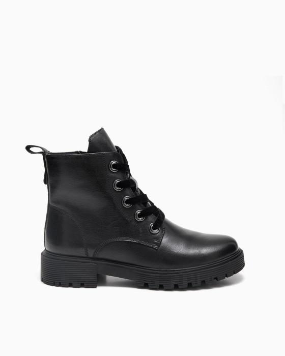 Черные ботинки ROU бархатной шнуровкой