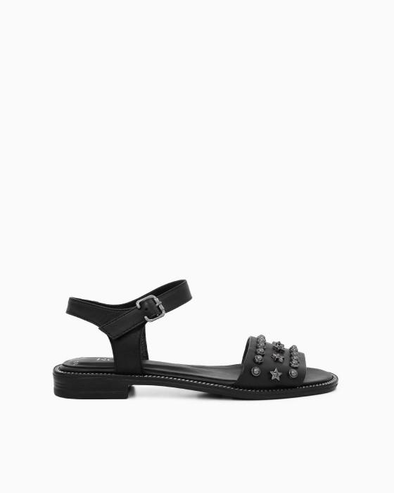 Черные кожаные декорированные сандалии ROU
