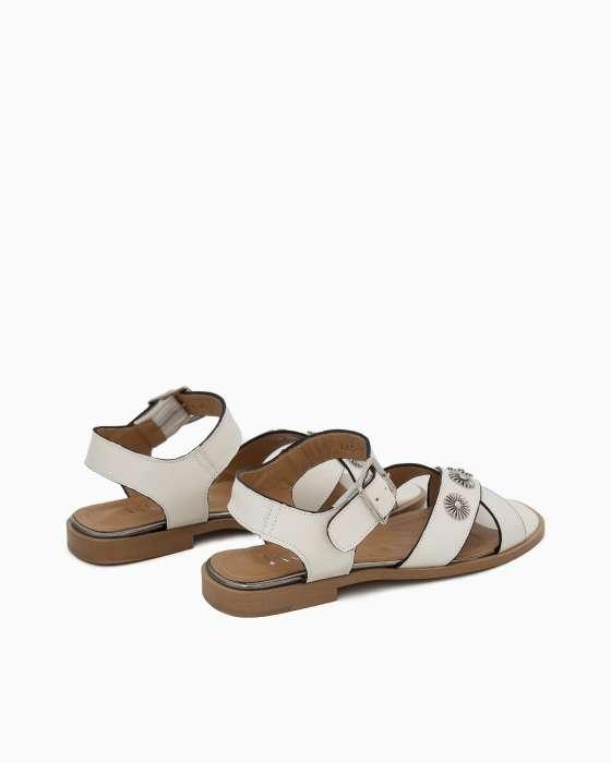 Бежевые кожаные сандалии ROU с металлическим декором