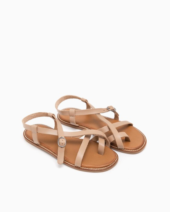 Кожаные бежевые сандалии ROU с ремешками