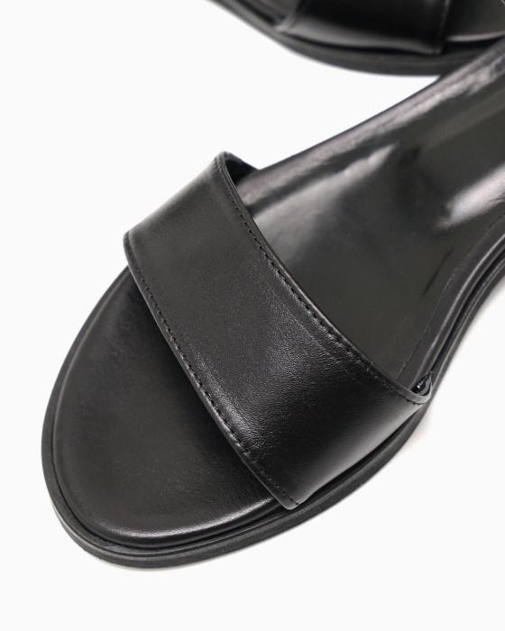 Черные кожаные сандалии ROU с небольшим каблучком