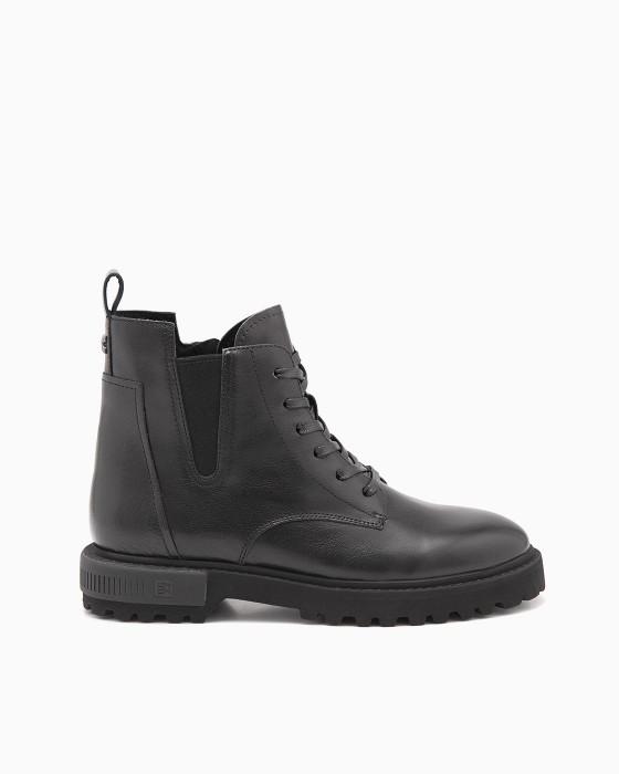 Кожаные ботинки ROU с резинкой и шнуровкой